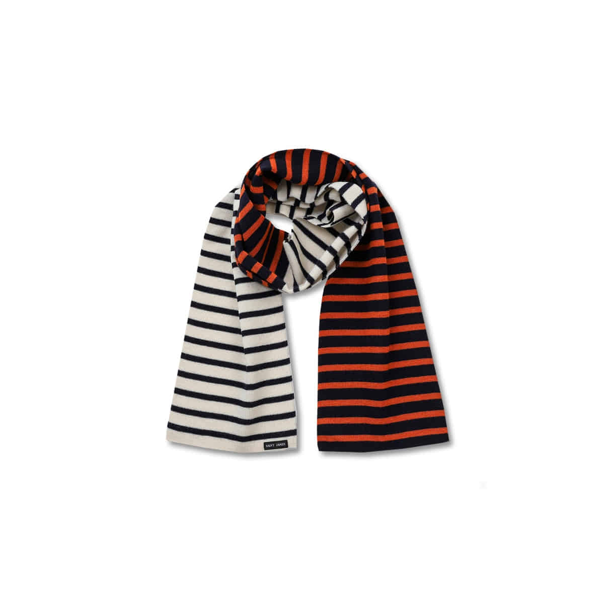 [SAINT JAMES] SCARF CRAZY 'ECRU/MARINE/MARINE/ROUILLE'
