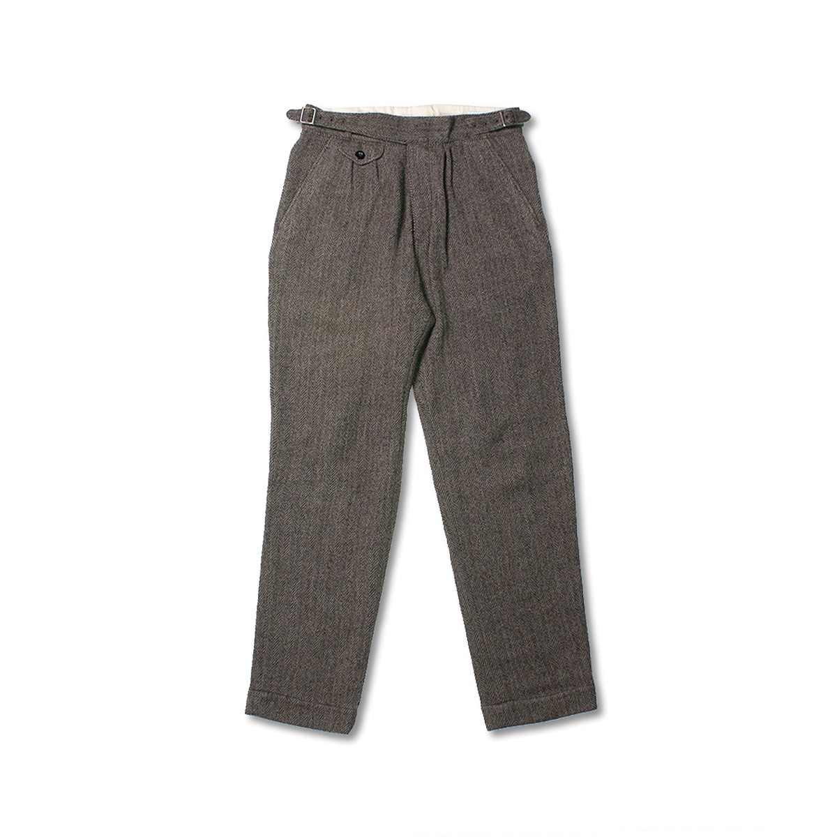 [KENNETH FIELD] GURKA 2 TROUSER WOOL HERRINGBONE 'BROWN'